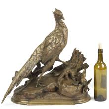 Jules Moigniez (French, 1835-1894) Antique Bronze Sculpture, Pheasant and Weasel