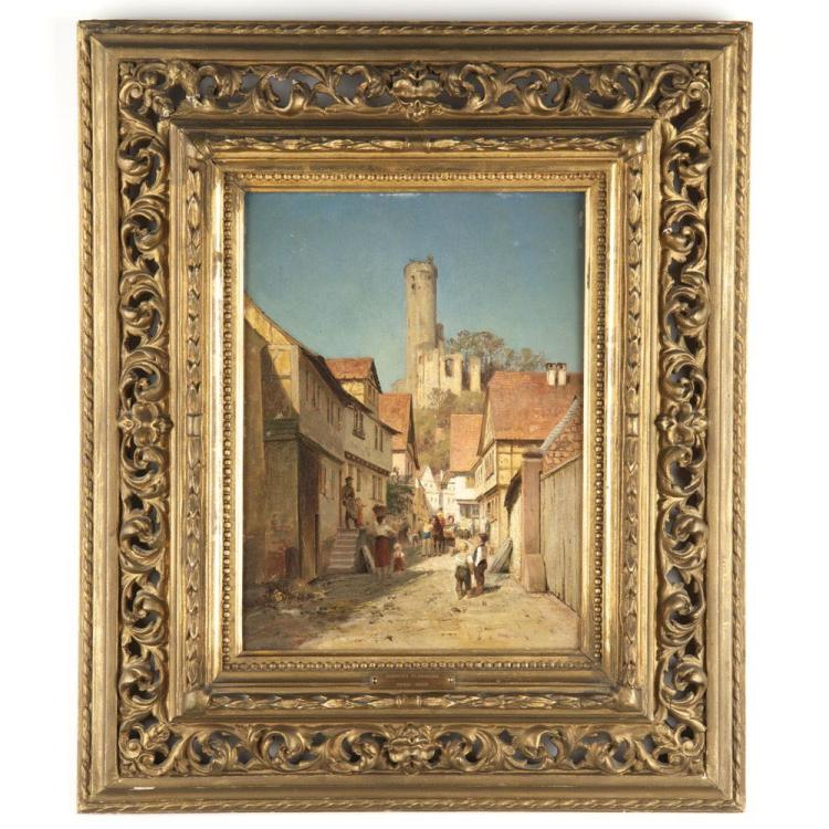 Original Robert Sliwinski (German, 1840-1902) Antique Street Scene Painting in Oil
