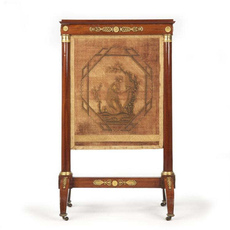 French Empire Mahogany Antique Fire Screen w/ Bronze Mounts & Tapestry