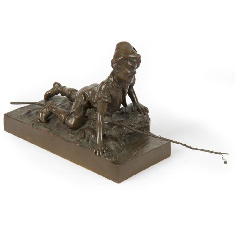 Berndorf Foundry (Austria, c. 1900) Antique Bronze Sculpture of Boy Fishing