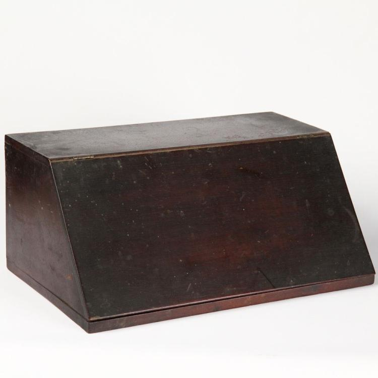 American Mahogany Antique Letter Box, Mid 19th Century Miniature Desk, Untouched