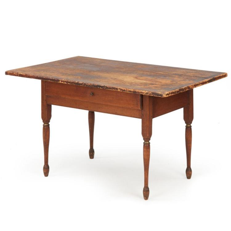 American Scrubbed and Painted Pine Tavern Table, New Hampshire c. 1830
