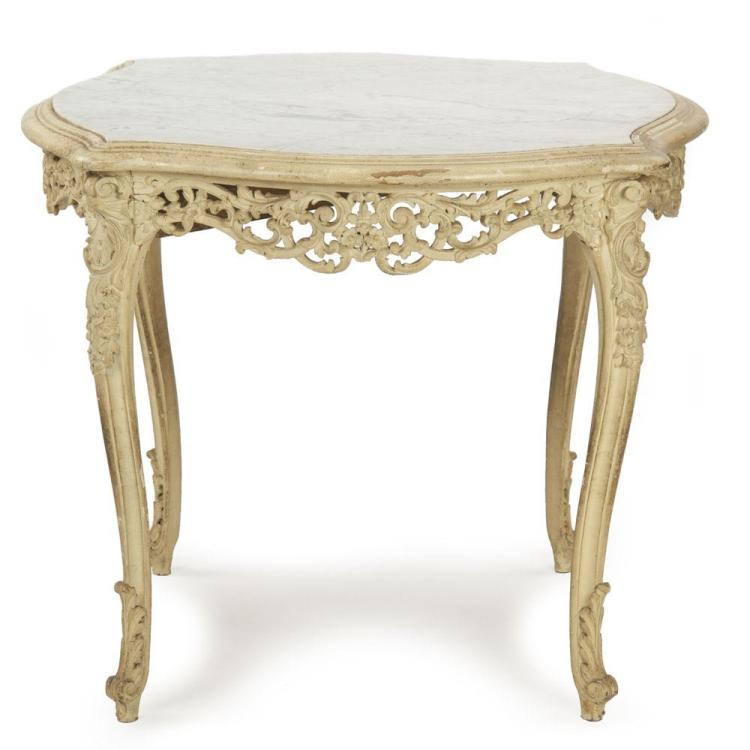 French Louis XV Style Antique Marble Top Table Gueridon, Carved & Painted