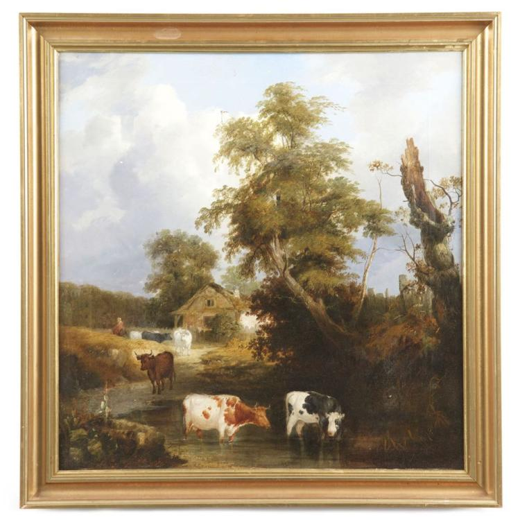 British School Antique Oil Painting of Cows Cattle, 19th Century