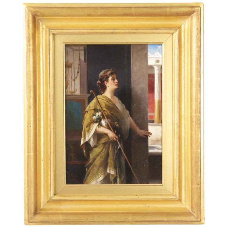 Luigi Crosio (Italian, 1835-1915) Antique Painting of Classical Figure c. 1877
