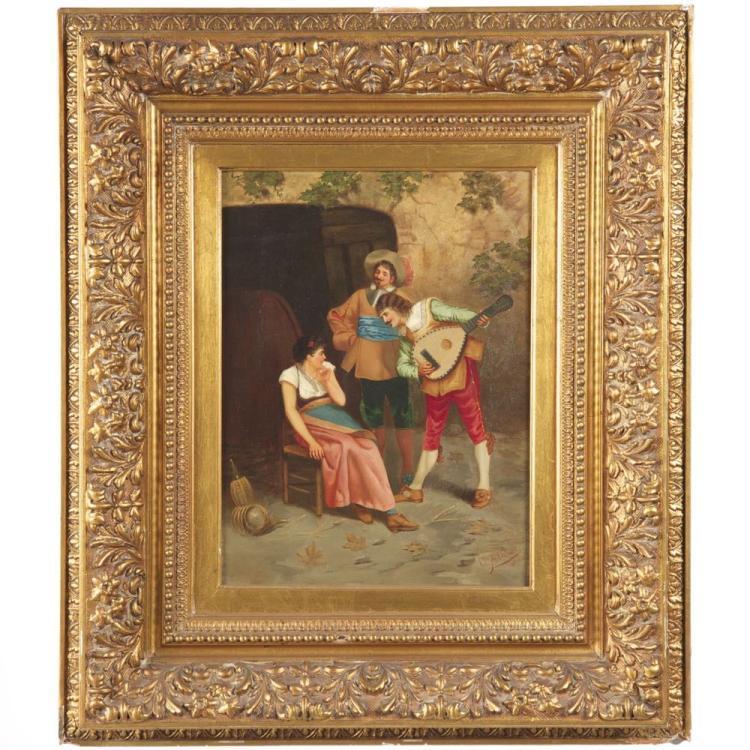 Gian Carlo Polidori (Italian, 19th Century) Antique Genre Scene Painting