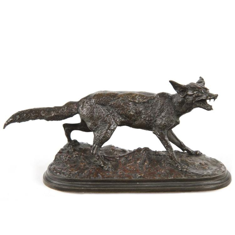Rare Pierre Jules Mene (French, 1810-79) Antique Bronze Sculpture of Fox