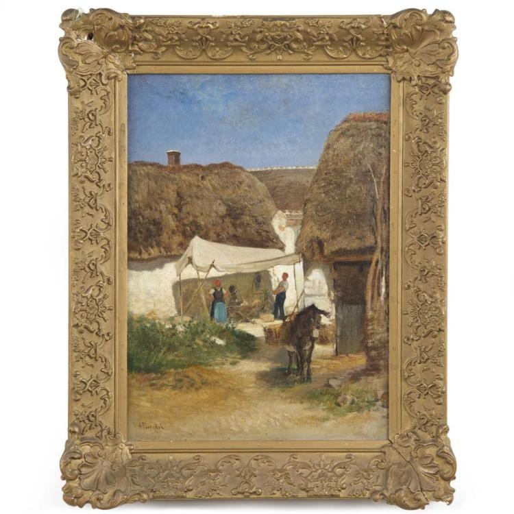 Albert Heinrich Brendel (German, 1827-95) Antique Painting of Village and Donkey