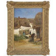 Albert Heinrich Brendel (German, 1827-95) Antique Painting of Village and Donkey