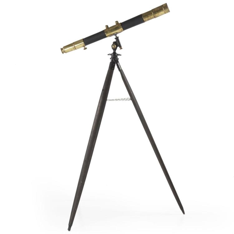 Vintage Brass Telescope on Wooden Tripod, 20th Century