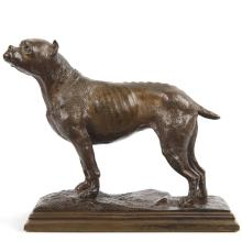 French School (20th Century) Antique Bronze Sculpture of Bull Terrier Dog