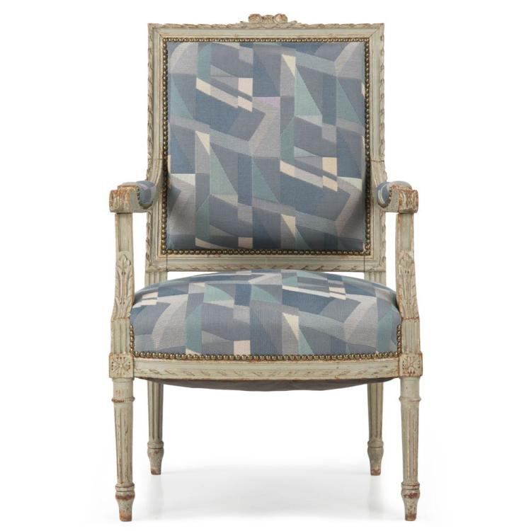French Louis XVI Style Gray Painted Antique Fauteuil Arm Chair, 19th Century