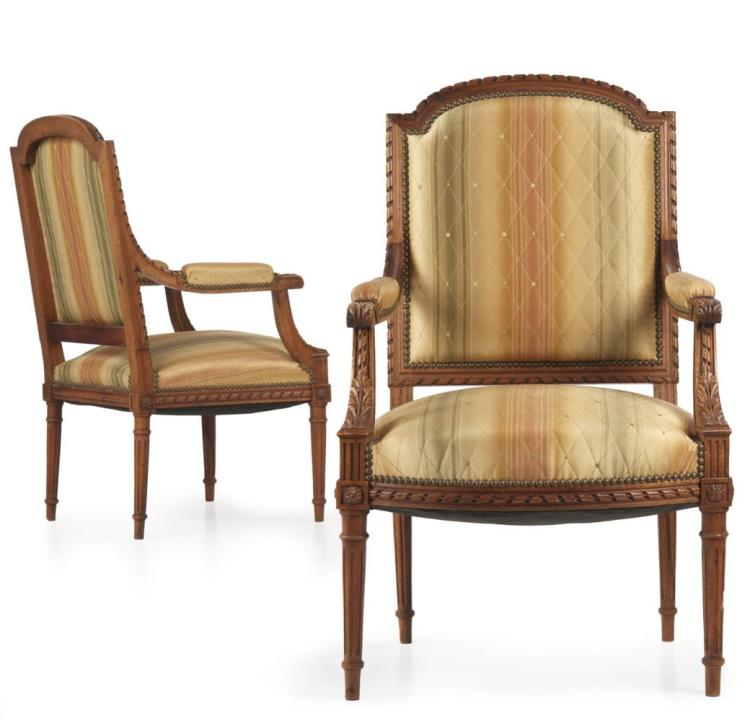 Pair of Antique French Louis XVI Style Fauteuils Arm Chairs, 19th Century