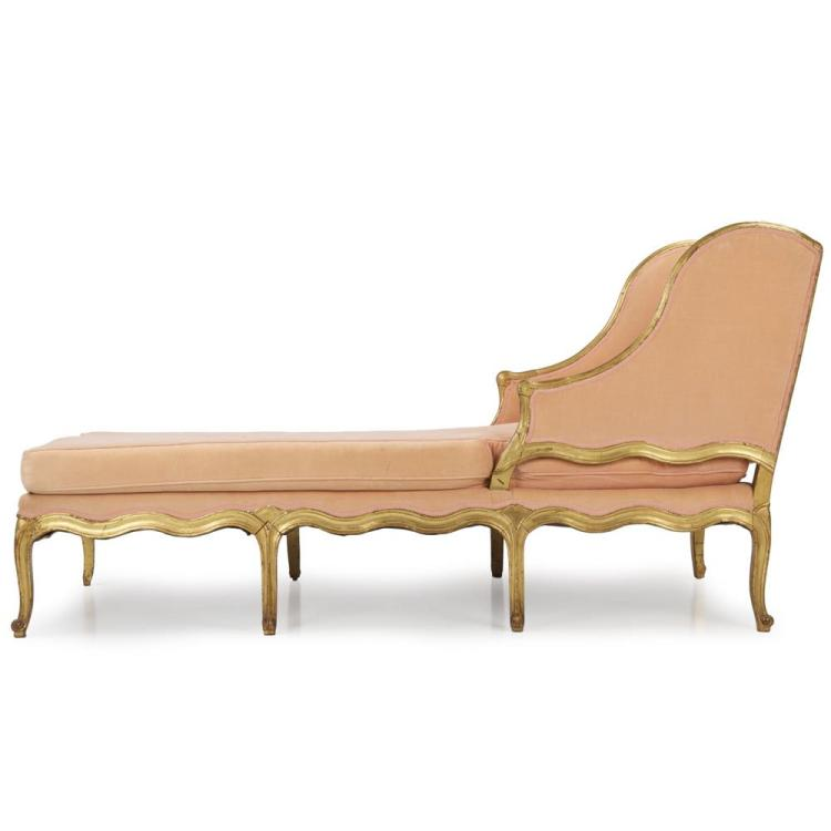 French Louis XV Style Gilded Antique Chaise Longue, 19th Century