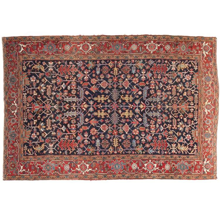 Room Size Authentic Antique Heriz Persian Rug, Early 20th Century