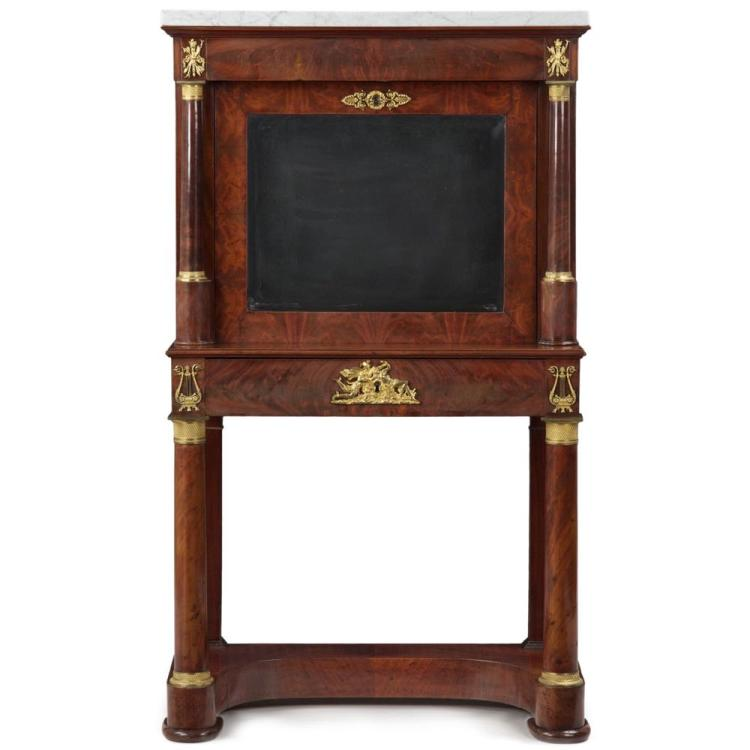 Exquisite French Empire Secretary Desk Abattant, 19th Century
