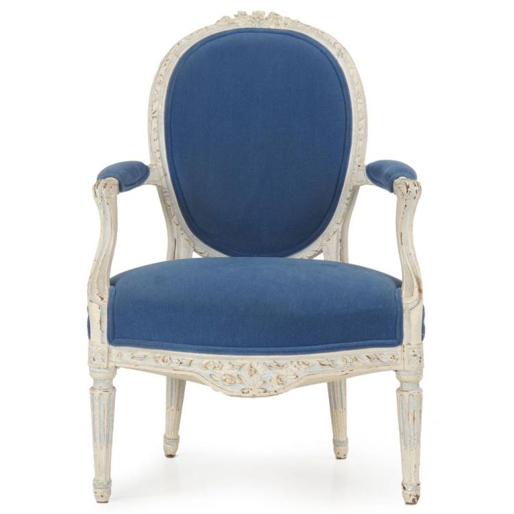 French Louis XVI Painted Antique Fauteuil Arm Chair, 18th Century