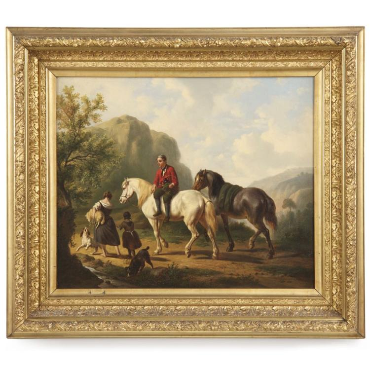 Dutch School (19th Century) Antique Equestrian Genre Painting