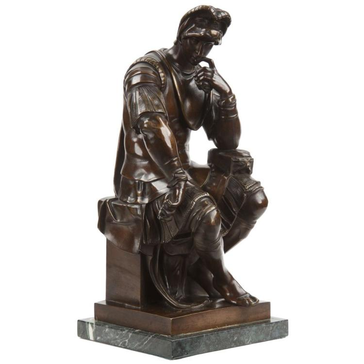 Bronze Sculpture of Lorenzo de Medici after Michelangelo, 19th Century
