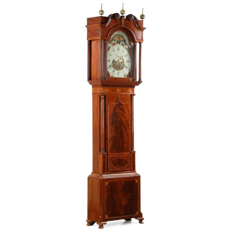 English Georgian Inlaid Mahogany Tall Case Clock c. 1800-10