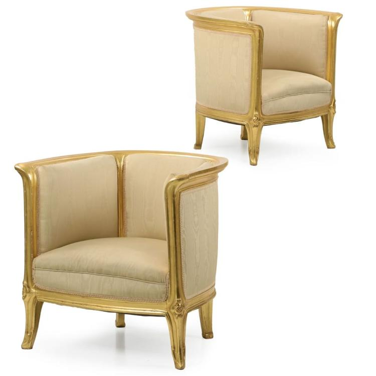 Rare Pair of Art Nouveau Gilded Antique Tub Arm Chairs attr. Majorelle