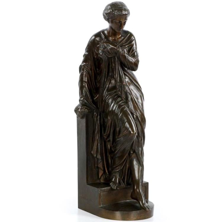 Eugene Aizelin French Antique Bronze Sculpture of Classical Female