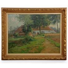 Leon Riket (Belgian, 1876-1938) Antique Impressionism Landscape Painting