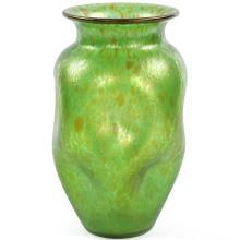 Art Nouveau Green Iridescent Oil Spot Art Glass Vase attr. Loetz