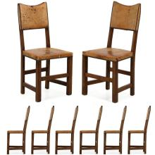 Set of Eight English Oak and Leather Dining Chairs, Early 20th Century