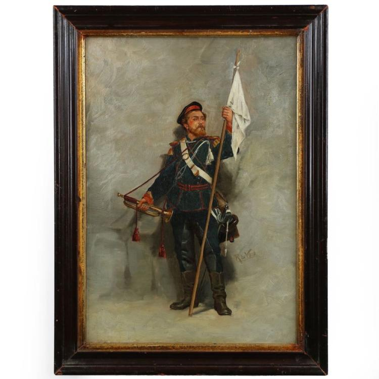 Roger de Vane (French, 19th Century) Antique Franco/Prussian Painting of Soldier
