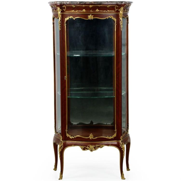 Exquisite French Louis XV Ormolu Mounted Kingwood Vitrine Cabinet c. 1880