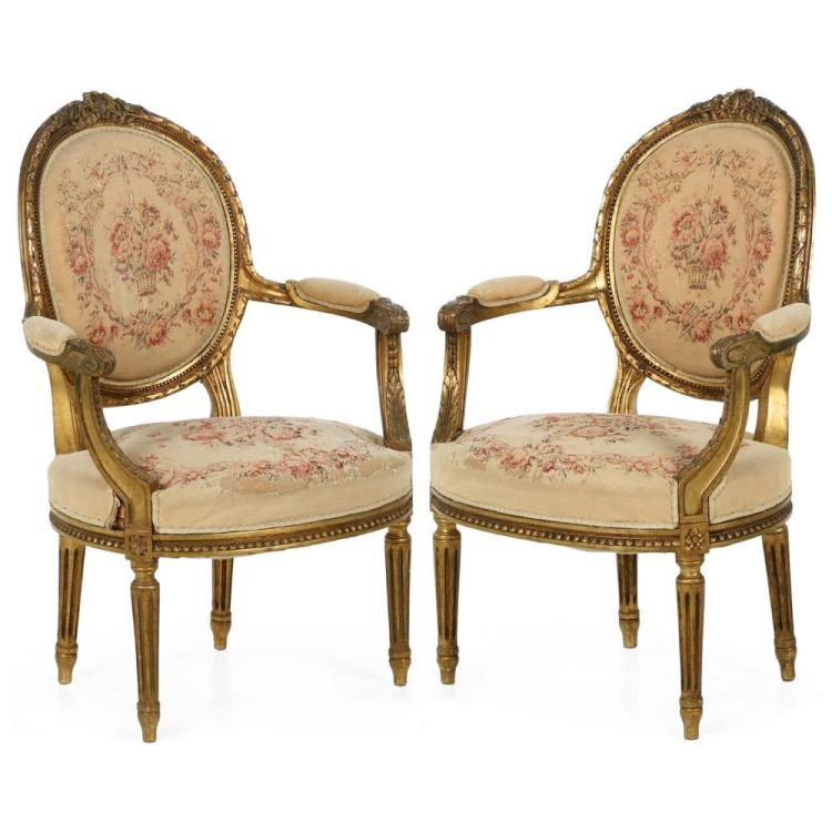 Pair of French Louis XVI Style Carved Giltwood Fauteuil Arm Chairs, 19th Century