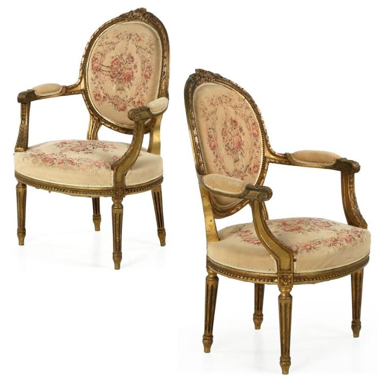 Pair of French Louis XVI Carved Giltwood Arm Chairs Fauteuils