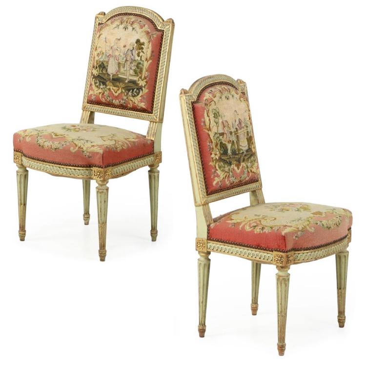 Fine Pair Of French Louis Xvi Green Painted Side Chairs 19t