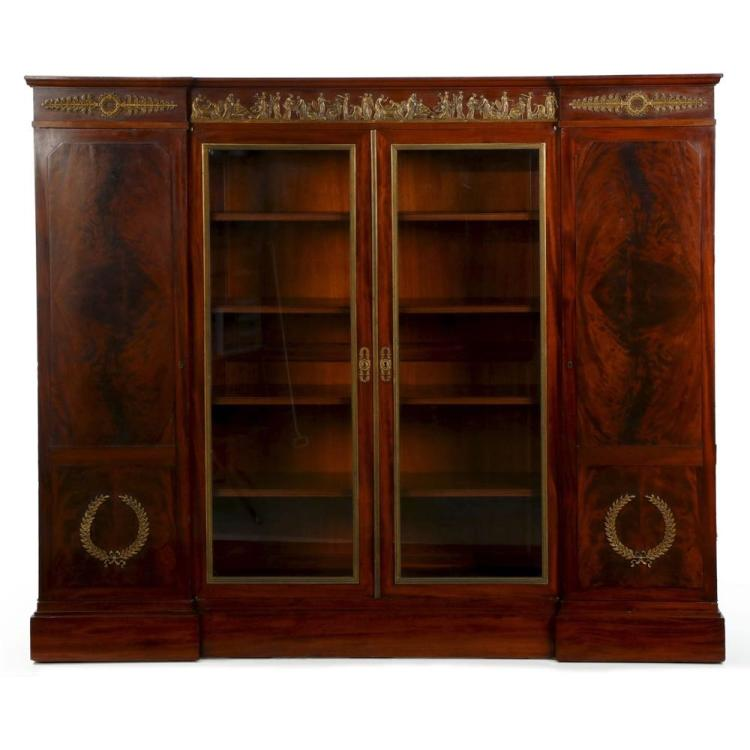 Impressive Empire Mahogany and Bronze Bookcase Cabinet, 19th Century