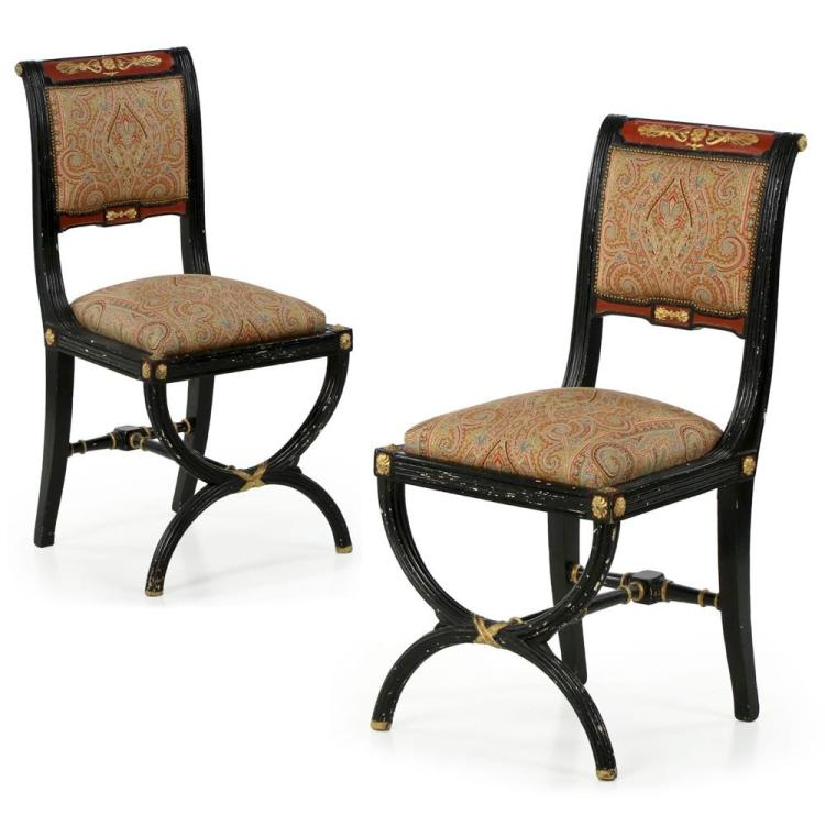 Pair of Ebonized Napoleon III Side Chairs w/ Cerule Legs