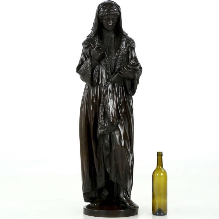 Large Original Bronze Sculpture poss. William Caxton, 19th Century