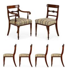FINE SET OF SIX REGENCY CARVED MAHOGANY DINING CHAIRS