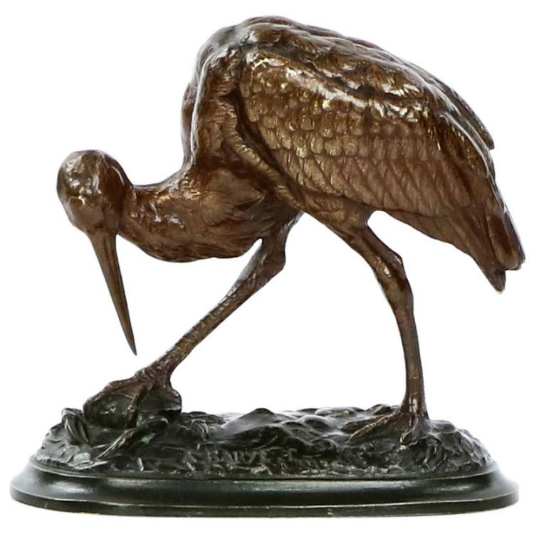 Alfred Barye (French, 1839-1882) Bronze Sculpture of Cicogne and Crab