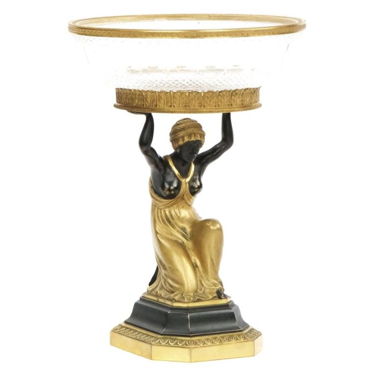 Austrian Empire Gilt Bronze and Glass Figural Centerpiece, 19th Century