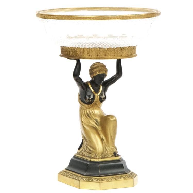 Austrian Empire Gilt Bronze and Glass Figural Centerpiece, 19th Century