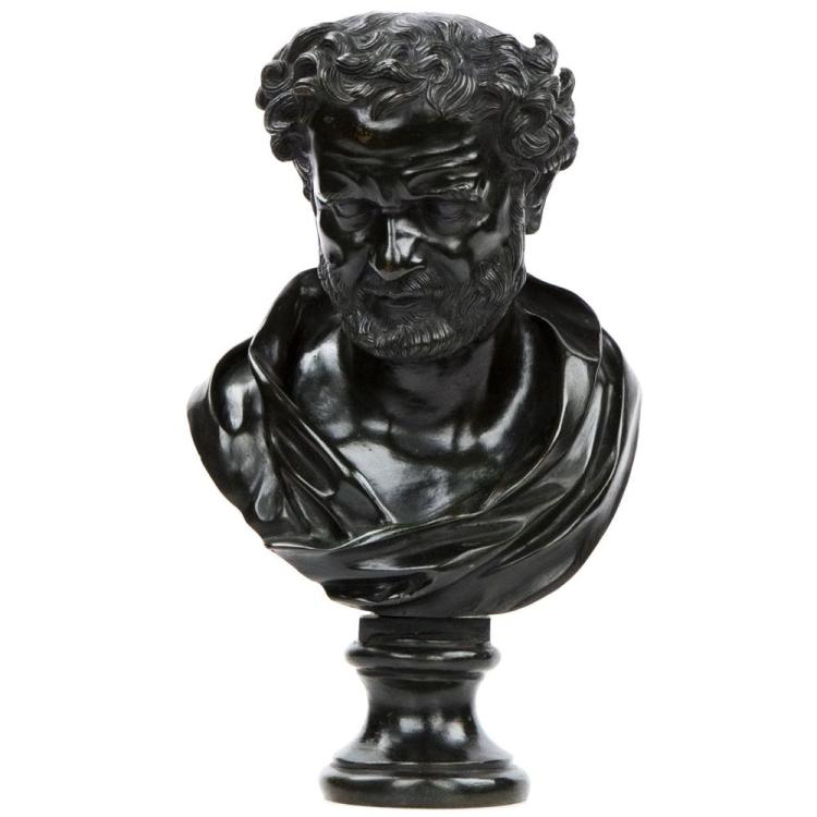 Italian Antique Bronze Bust of a Roman Statesman, 19th Century