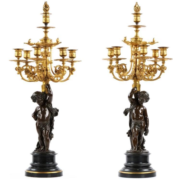 Impressive Pair of Napoleon III Bronze Candelabra by Victor Paillard