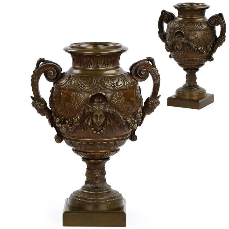 Pair of French Napoleon III Bronze Garniture Vases c. 1870-90