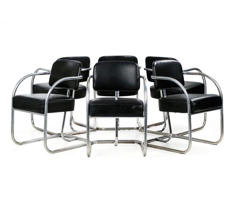 Set of Six Chrome Tubular and Leather Dining Chairs, KEM Weber