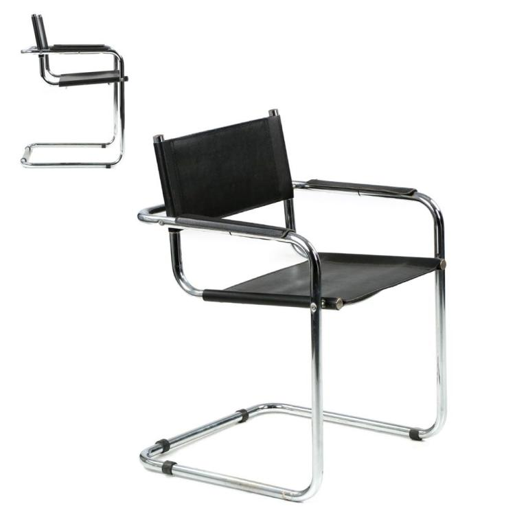 Pair of Cantilever Chrome and Leather Arm Chairs after Mart Stam