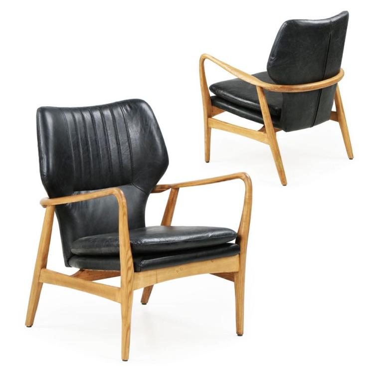 Pair of Danish Mid-Century Style Leather Lounge Chairs, 21st Century