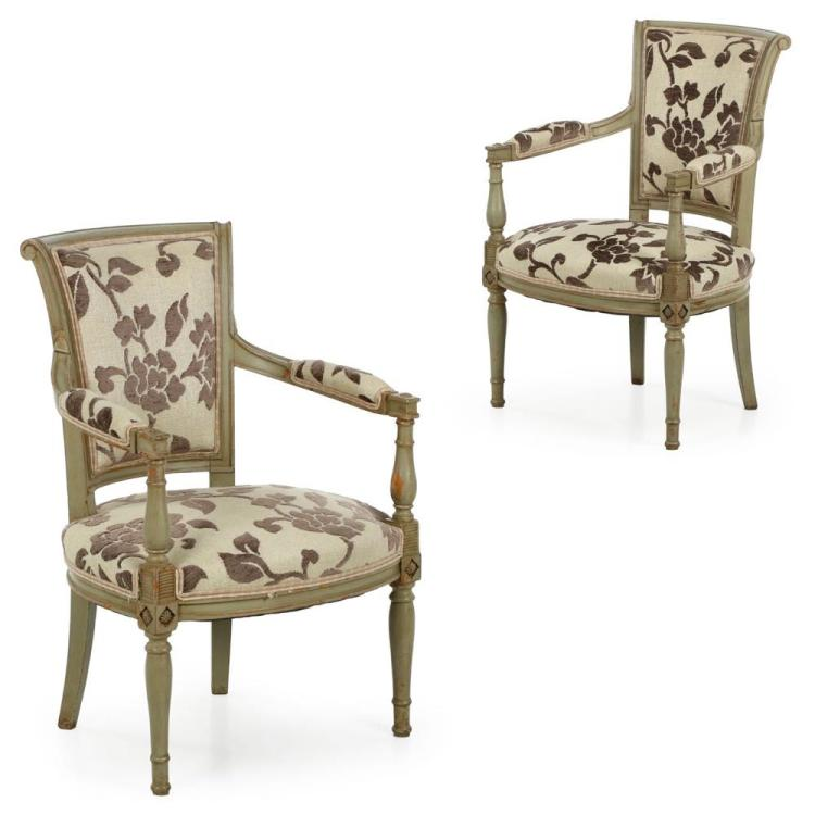 Pair of French Directoire Style Green Painted Antique Arm Chairs