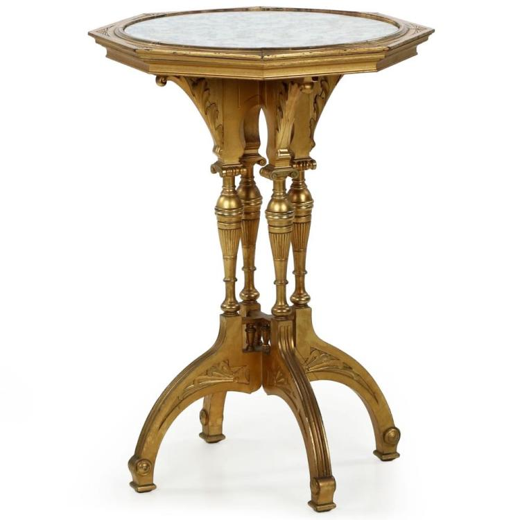 Aesthetic Movement Giltwood Mirrored Side Table c. 1900