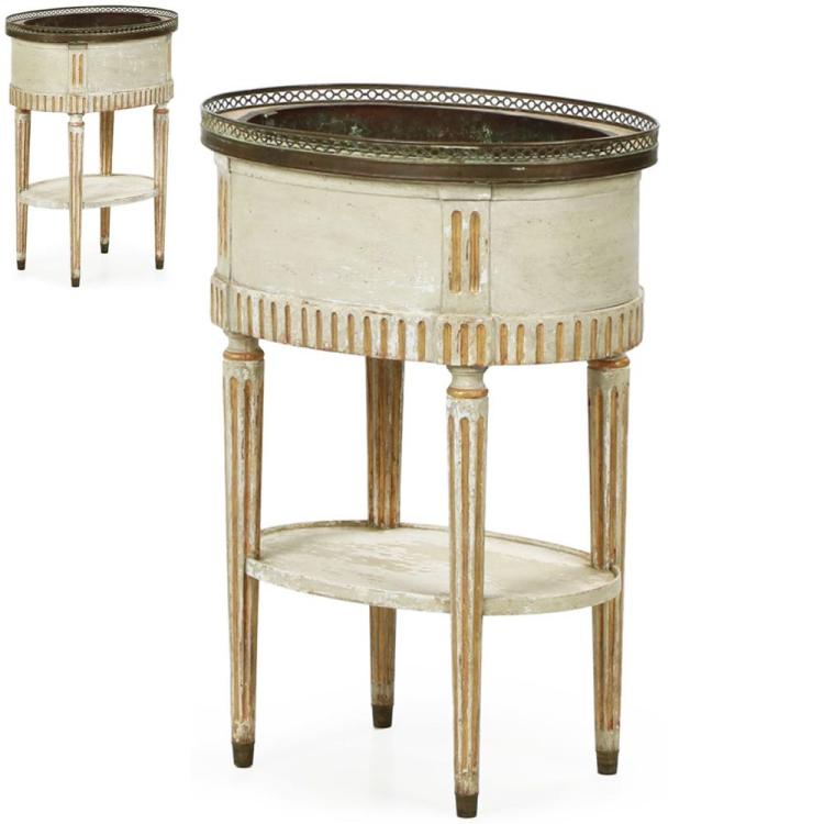 Pair of Swedish Gustavian Painted Jardiniere Stands, 19th Century